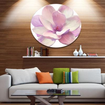 Designart Cute Light Pink Magnolia Flower Disc Flowers Metal Circle Wall Artwork