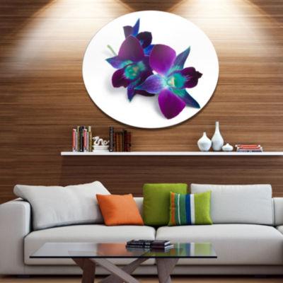 Designart Deep Purple Orchid Flowers on White DiscFlowers Metal Circle Wall Artwork