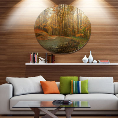 Designart Curving Road in Autumn Forest Disc Forest Metal Circle Wall Art
