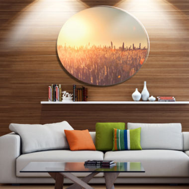 Designart Rural Land under Shining Sun Disc LargeLandscape Metal Circle Wall Art