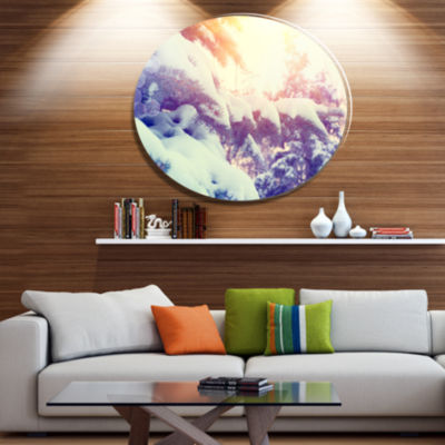 Designart Winter Pine Trees in Mountains Disc Large Landscape Metal Circle Wall Art