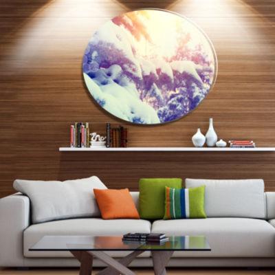 Designart Winter Pine Trees in Mountains Disc Large Landscape Metal Circle Wall Art