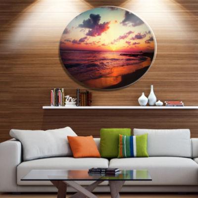 Designart Sea Sunset Landscape View Disc Large Seashore Metal Circle Wall Art