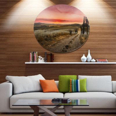 Designart Cypress Trees on Road Tuscany Disc LargeLandscape Metal Circle Wall Art
