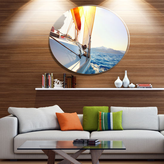 Designart Sailboat Sailing in the Blue Sea Disc Large Seashore Metal Circle Wall Art