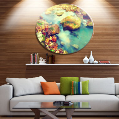 Designart Mountain River with Stones Disc Large Seashore Metal Circle Wall Art