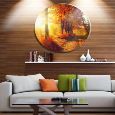Designart Autumnal Trees in Sunrays Disc Large Landscape Metal Circle Wall Art
