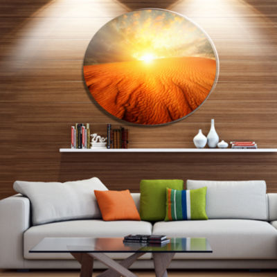 Designart Sand Landscape with Sun Disc Large Landscape Metal Circle Wall Art