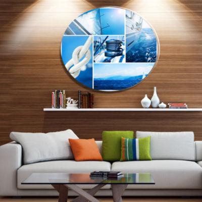 Designart Sailing Yacht in Blue Sea Collage Disc Large Seashore Metal Circle Wall Art