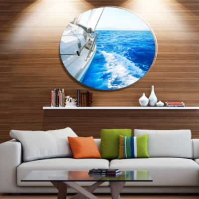Designart White Sailing Yacht in Blue Sea Disc Large Seashore Metal Circle Wall Art