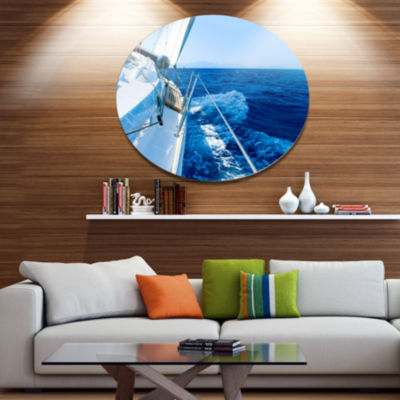 Designart Tourism Yacht Sailing in Blue Sea Disc Large Seashore Metal Circle Wall Art