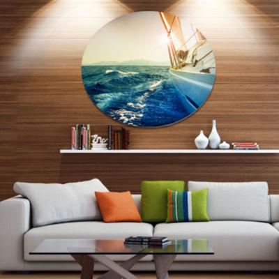 Designart Sepia toned Yacht Sailing in Sea Disc Large Seashore Metal Circle Wall Art