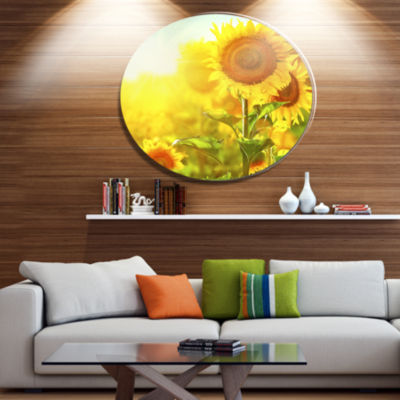 Designart Bright Sunflowers Blooming on Field DiscLarge Animal Metal Circle Wall Art