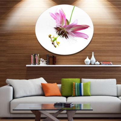 Designart Passiflora Flower over White Disc LargeAnimal Metal Circle Wall Art