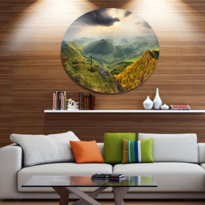 Designart Slovakia Spring Forest Mountain Disc Large Landscape Metal Circle Wall Art