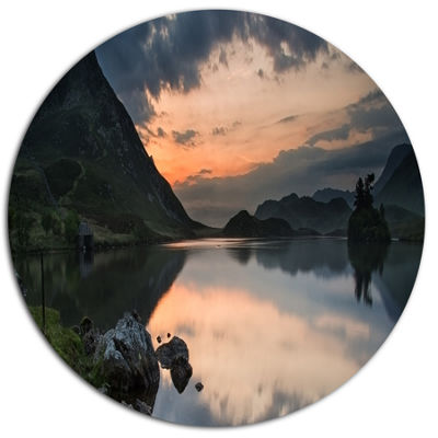 Designart Stunning Sunrise over Lake Panorama DiscLarge Landscape Metal Circle Wall Art