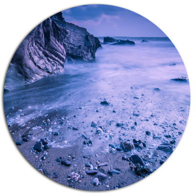 Designart Calm Time Lapse on Beach at Sunset DiscLarge Seashore Metal Circle Wall Art