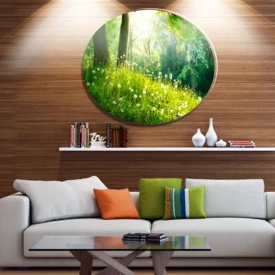 Designart Beautiful Green Grass and Trees Disc Large Landscape Metal Circle Wall Art