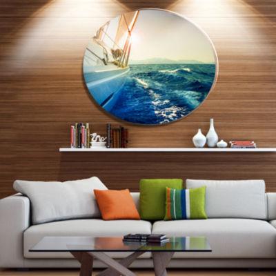 Designart Yacht Sailing in Wavy Waters Disc LargeSeashore Metal Circle Wall Art