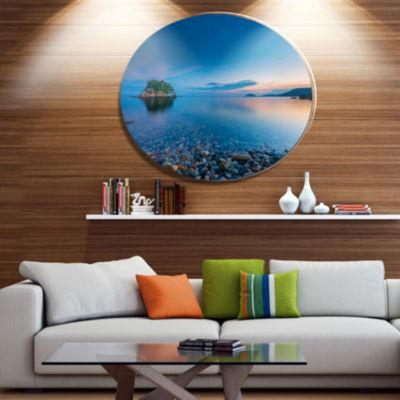 Designart Green Isle at Stony Coast Disc Large Seashore Metal Circle Wall Art
