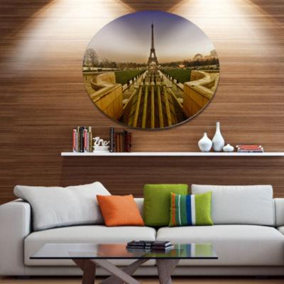 Designart Beautiful View of Paris Eiffel Tower Disc Large Landscape Metal Circle Wall Art