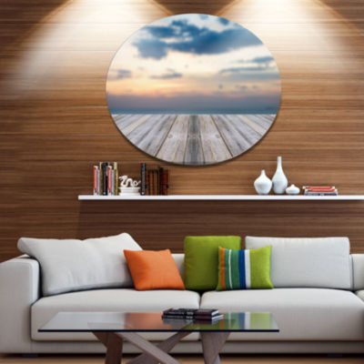 Designart Wooden Board at Sunset Seashore Disc Metal Circle Wall Art