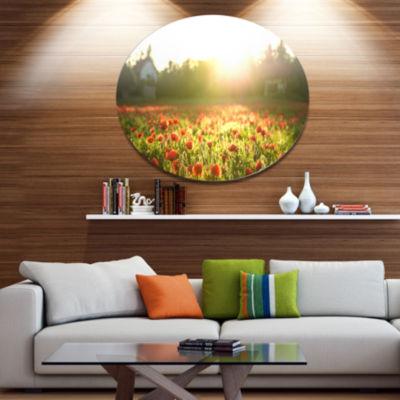 Designart Poppy Field under Bright Sunlight Disc Large Landscape Metal Circle Wall Art