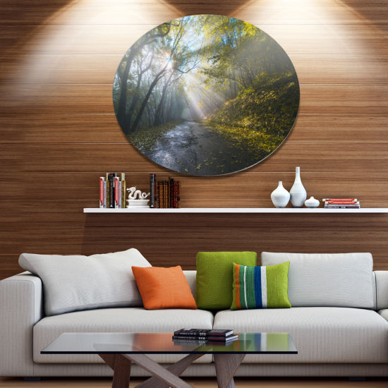 Designart Road in Autumn Forest at Sunset Disc Large Landscape Metal Circle Wall Art