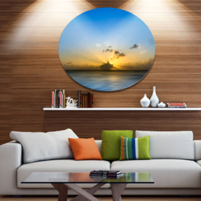 Designart Sunset Lake in South Thailand Disc LargeSeashore Metal Circle Wall Art