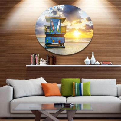 Designart Miami South Beach Sunrise Disc Large Seashore Metal Circle Wall Art