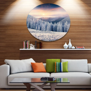 Designart Carpathian Mountains in Winter Disc Large Landscape Metal Circle Wall Art