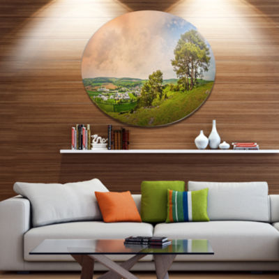 Designart Mountains in Germany Panorama Disc LargeLandscape Metal Circle Wall Art