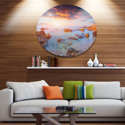 Designart Sunrise on South Coast of Sicily Disc Seashore Photo Metal Circle Wall Art