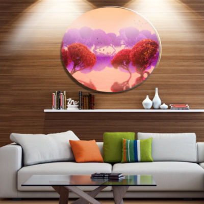 Designart Red and Purple Japanese Gardens Disc Large Landscape Metal Circle Wall Art
