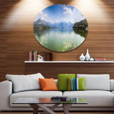 Designart Kastoria Lake Greece Panorama Disc Landscape Metal Circle Wall Art