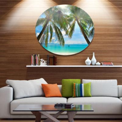 Designart Palm Hanging over Sandy White Beach DiscSeashore Photo Metal Circle Wall Art