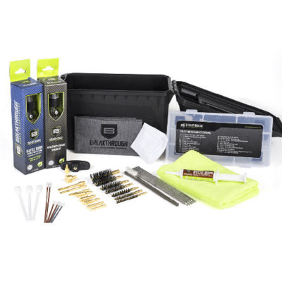Breakthrough Clean Cleaning Kit Ammo Can with Solvent/Oil/Grease  Rods/Brusjes/Jags  Patches/Towel/Swabs ect.