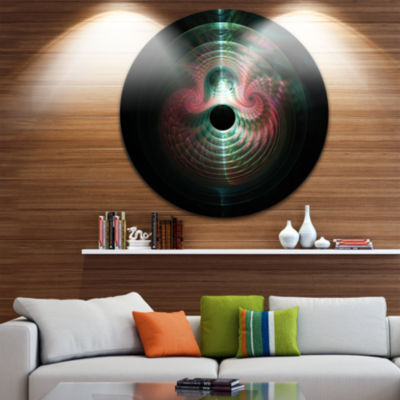 Design Art Green Pink Magical Lights Abstract Arton Round Circle Metal Wall Decor Panel