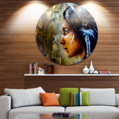 Design Art Indian Woman with Headdress Portrait Circle Metal Wall Art