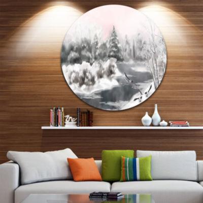 Design Art Grey Winter Vector Disc Landscape Watercolor Circle Metal Wall Art