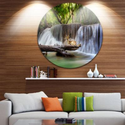Design Art Huai Mae Kamin Waterfall Photo Disc Abstract Metal Artwork