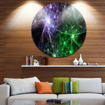 Design Art Green Purple Colorful Fireworks Abstract Art on Round Circle Metal Wall Decor Panel