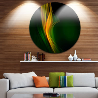 Design Art Green Gold Upright Waves Abstract Circle Metal Wall Art