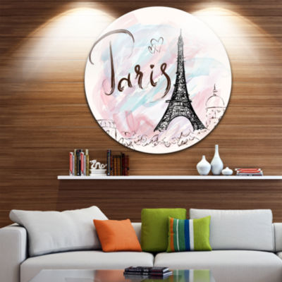 Design Art Illustration with Paris Eiffel Tower Disc Abstract Cityscape Circle Metal Wall Art