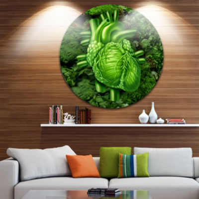 Design Art Green Healthy Heart Disc Contemporary Artwork on Circle Metal Wall Art