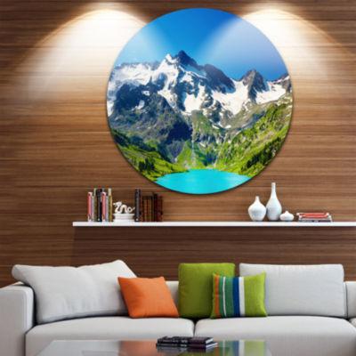 Design Art Green Mountain Lake Disc Photography Circle Metal Wall Art