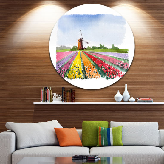Design Art Holland Vector Illustration Disc Cityscape Painting Circle Metal Wall Art