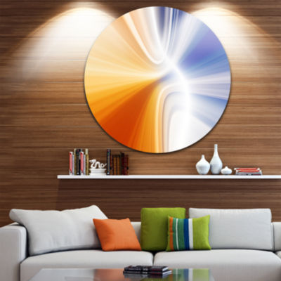Design Art Glowing Colored Lines Abstract Circle Metal Wall Art