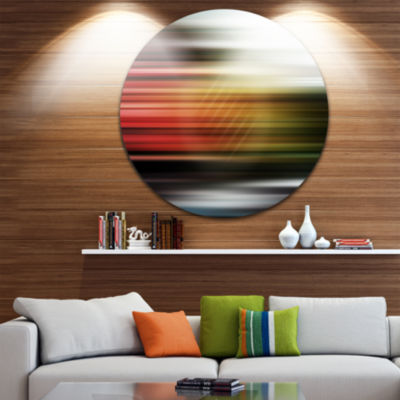 Design Art Horizontal Lights Disc Contemporary Circle Metal Wall Art