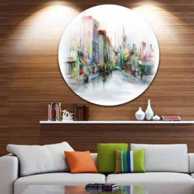 Design Art Illustration of City Street Disc Cityscape Circle Metal Wall Art